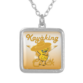 Kayaking Chick #10 Square Pendant Necklace
