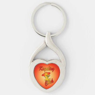 Kayaking Chick #5 Silver-Colored Twisted Heart Key Ring