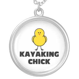 Kayaking Chick Round Pendant Necklace