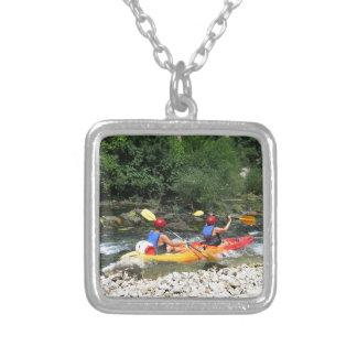Kayaking Square Pendant Necklace