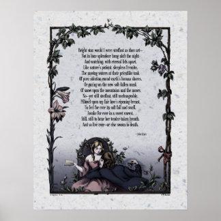 """Keats """"Bright Star"""" Victorian Art Poster"""