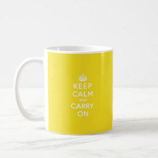 Keep Calm and Carry On Hansa Yellow Med White Text Basic White Mug
