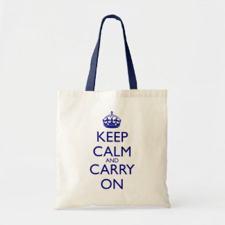 Keep Calm and Carry On Navy Blue Text Budget Tote Bag