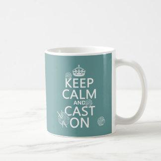 Keep Calm and Cast On - all colors Basic White Mug