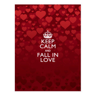 Keep Calm And Fall in Love Saying Postcard