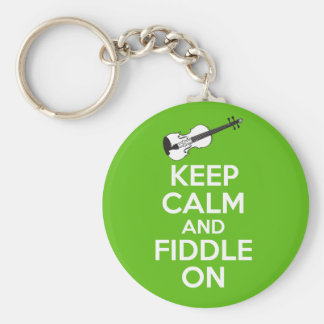 Keep Calm and Fiddle On Violin on Green Basic Round Button Key Ring
