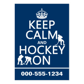 Keep Calm and Hockey On (in any color) Pack Of Chubby Business Cards