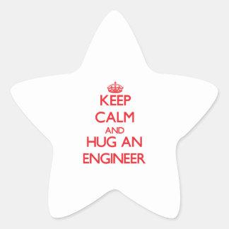 Keep Calm and Hug an Engineer Star Sticker