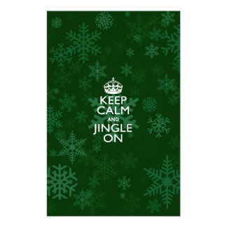 Keep Calm And Jingle On Green Snowflakes 14 Cm X 21.5 Cm Flyer