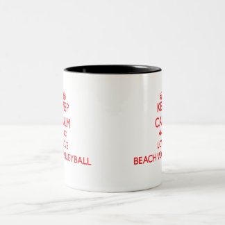 Keep calm and love Beach Volleyball Two-Tone Mug