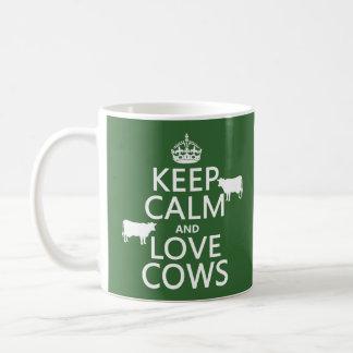 Keep Calm and Love Cows (all colors) Basic White Mug