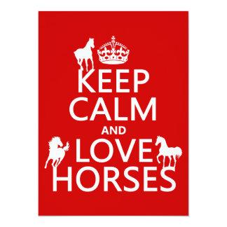 Keep Calm and Love Horses - all colors 14 Cm X 19 Cm Invitation Card
