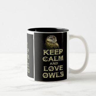 Keep Calm and Love Owls Original Owl Gift Stuff Two-Tone Mug