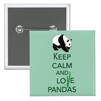 Keep Calm and Love Pandas Gift Art Print 15 Cm Square Badge