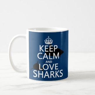 Keep Calm and Love Sharks (customizable colors) Basic White Mug