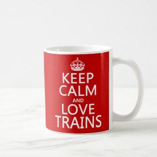 Keep Calm and Love Trains (customizable colors) Basic White Mug