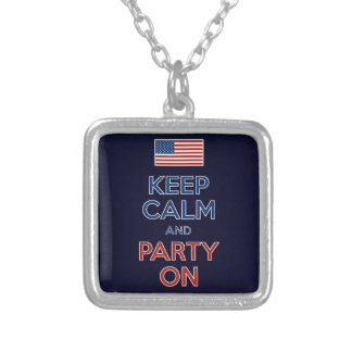 Keep Calm And Party On U.S. Flag 4th Of July Square Pendant Necklace