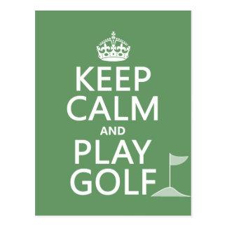 Keep Calm and Play Golf - all colors Postcard
