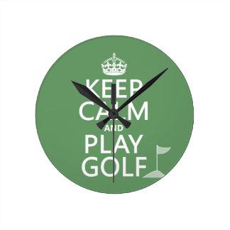 Keep Calm and Play Golf - all colors Wallclocks