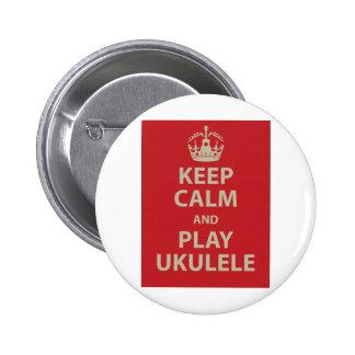 Keep Calm and Play Ukulele 6 Cm Round Badge