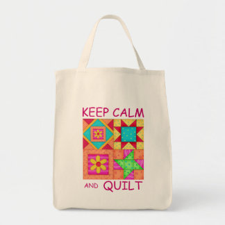 Keep Calm and Quilt Colorful Patchwork Blocks Grocery Tote Bag