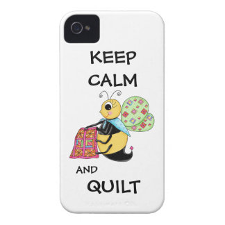 Keep Calm and Quilt Whimsy Honey Bee Art iPhone 4 Covers