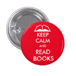 Keep calm and read books 3 cm round badge