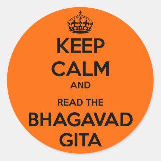 Keep Calm and Read the Bhagavad Gita Round Sticker
