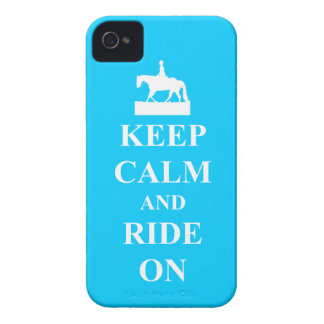 Keep calm and ride on (blue) iPhone 4 Case-Mate cases