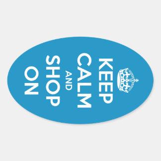 Keep Calm and Shop On Blue Oval Sticker