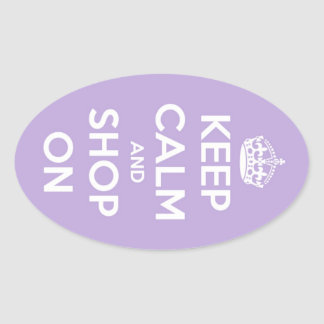 Keep Calm and Shop On Lavender Oval Sticker