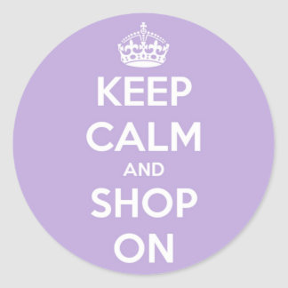 Keep Calm and Shop On Lavender Round Sticker