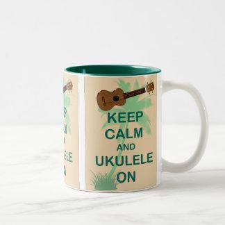 Keep Calm and Ukulele On Fun Original Print Two-Tone Mug