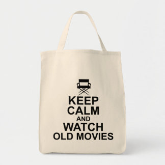 Keep Calm and Watch Old Movies Grocery Tote Bag
