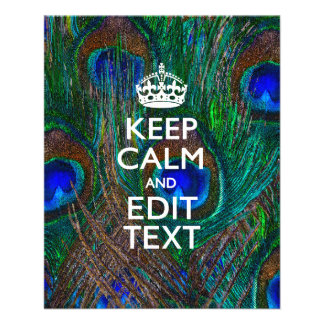 Keep Calm And Your Text on Peacock Feathers 11.5 Cm X 14 Cm Flyer