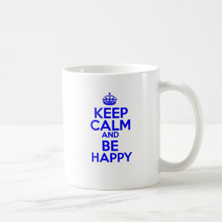 Keep Calm & Be Happy Basic White Mug