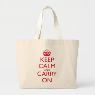 Keep Calm & Carry On Fire Engine Red Text Jumbo Tote Bag