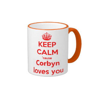 Keep calm cause Corbyn loves you red Ringer Mug
