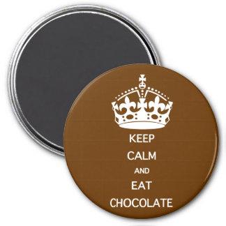 KEEP CALM  EAT  CHOCOLATE 7.5 CM ROUND MAGNET