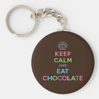 Keep Calm & Eat Chocolate Basic Round Button Key Ring