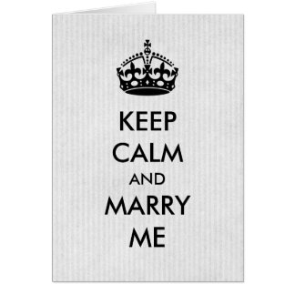 Keep Calm Marriage Proposal Card White Kraft Paper