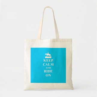 Keep calm & ride on (light blue) budget tote bag