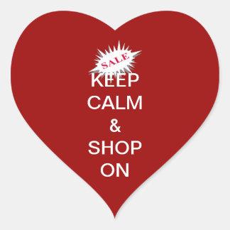 keep calm & shop on heart sticker