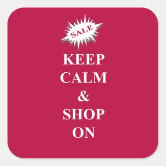 keep calm & shop on square sticker