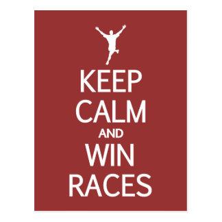 Keep Calm & Win Races custom color postcard
