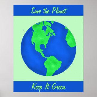 Keep It Green Save Earth Environment Art Custom Poster