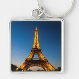 Key-ring Paris-Turn Eiffel #1 Silver-Colored Square Key Ring