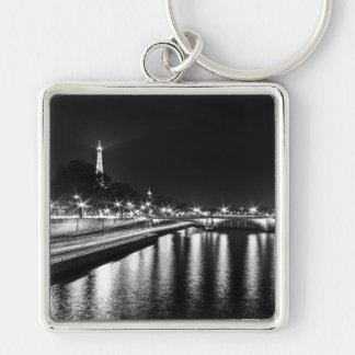 Key-ring Paris-Turn Eiffel #8 Silver-Colored Square Key Ring