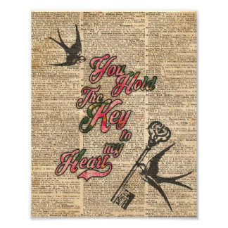 Key to my heart Flowers & Swallows Dictionary Art Photograph