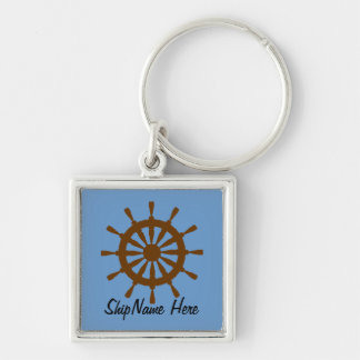 Keychain - ship's wheel with name